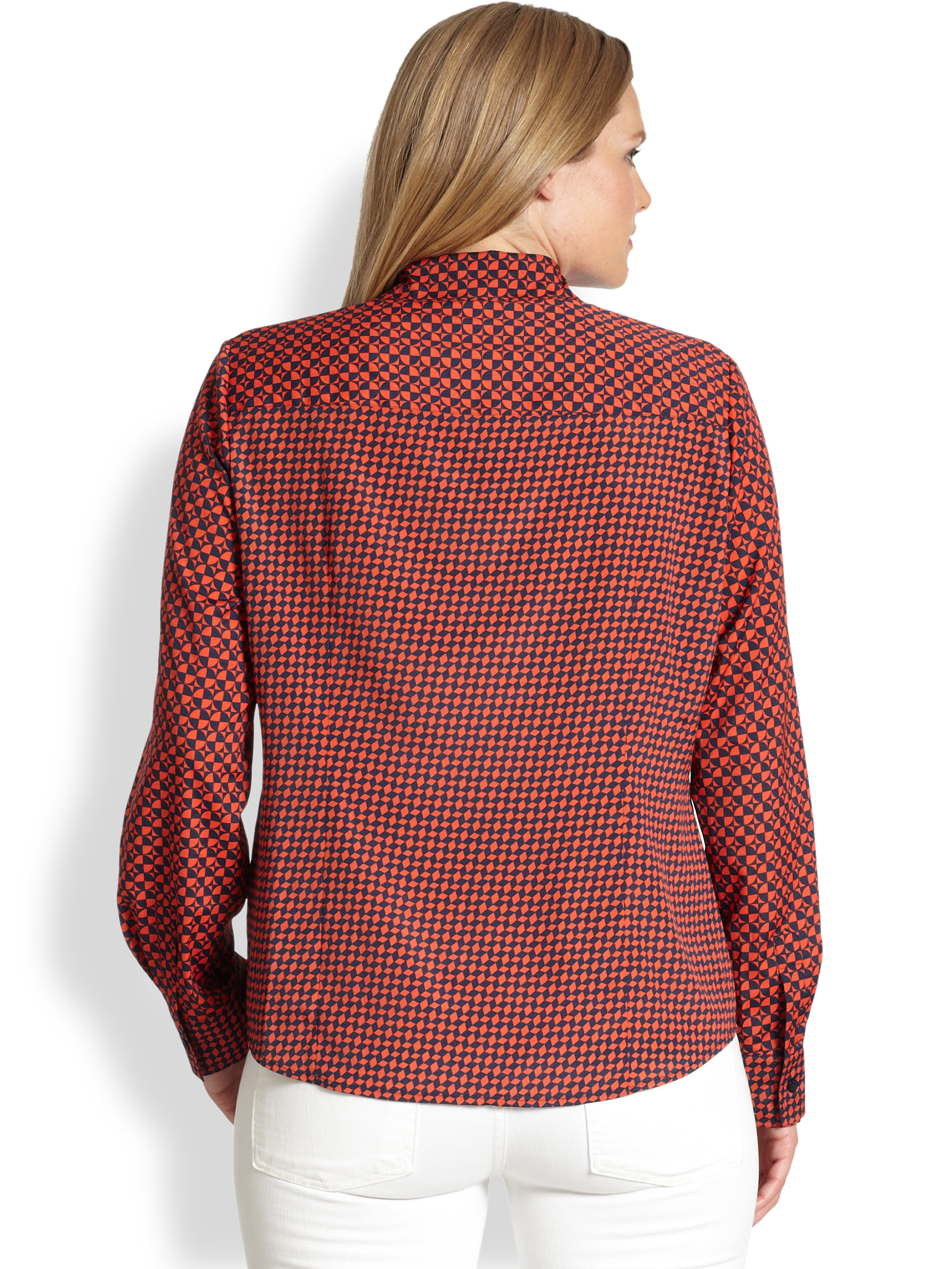 michael michael kors abstract diamondpebble print blouse in pink coral rose lyst. Black Bedroom Furniture Sets. Home Design Ideas