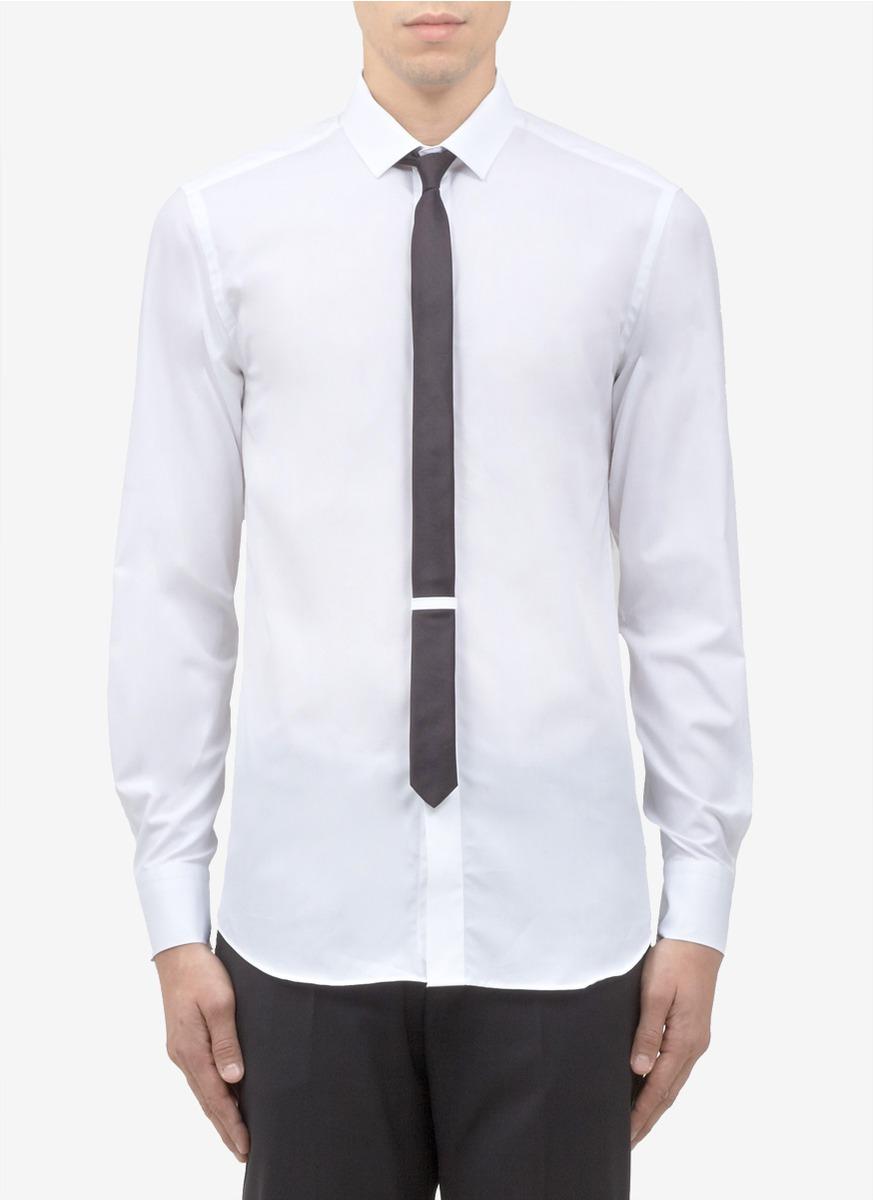Neil Barrett Silk Tie Slimfit Shirt In White For Men Lyst