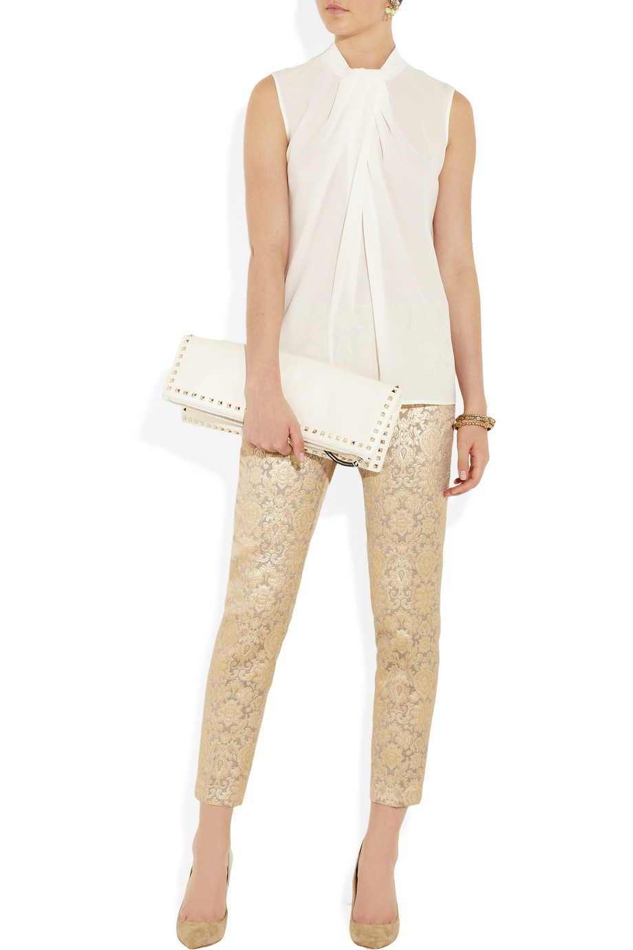 paul joe metallic jacquard pants in gold silver lyst. Black Bedroom Furniture Sets. Home Design Ideas