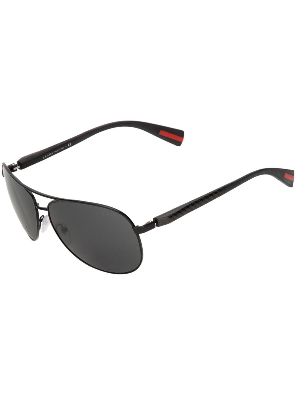 34c33e28bf8f Prada Aviator Sunglasses in Black for Men - Lyst