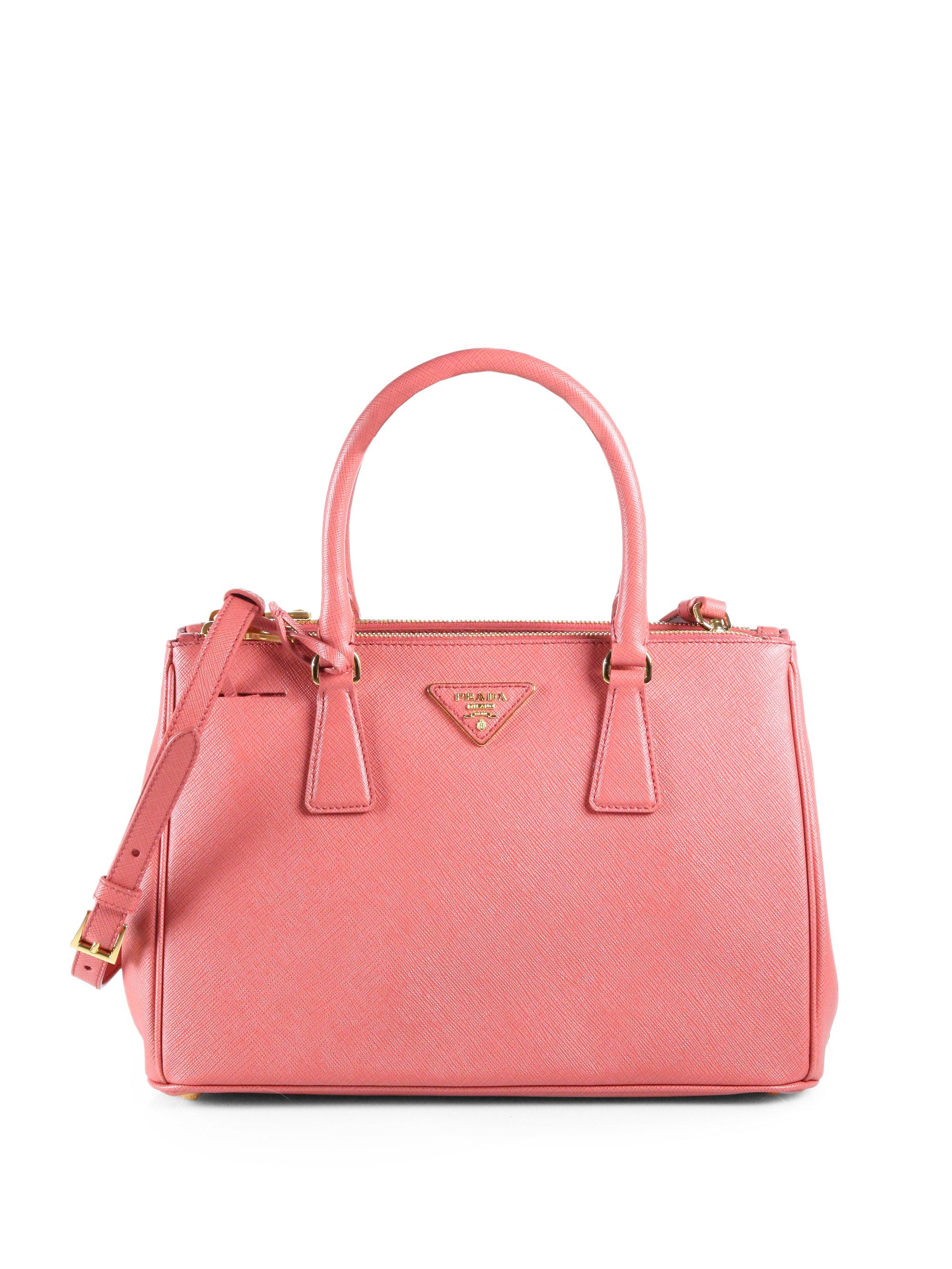 lyst prada saffiano lux small tote bag in pink