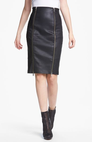 zoe brie stretch leather pencil skirt in black lyst