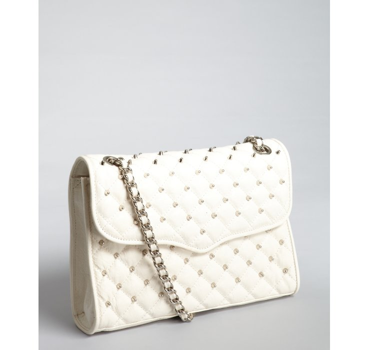 Rebecca Minkoff White Quilted Leather Affair Studded