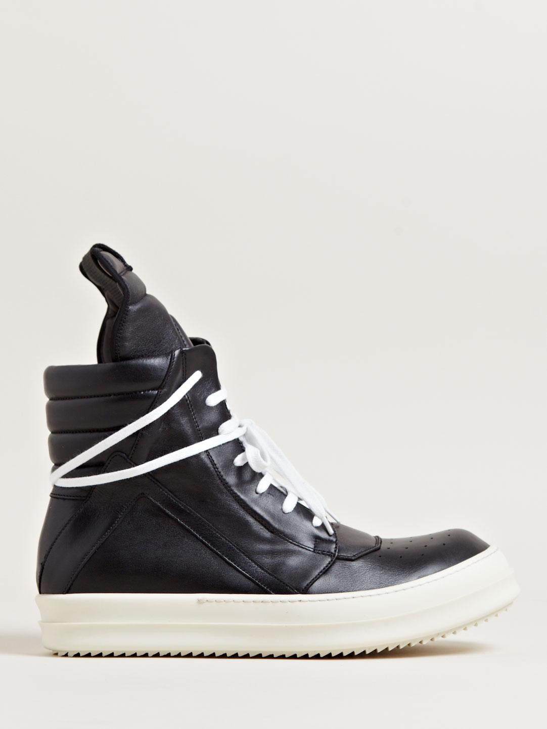 lyst rick owens mens geobasket sneakers in black for men. Black Bedroom Furniture Sets. Home Design Ideas