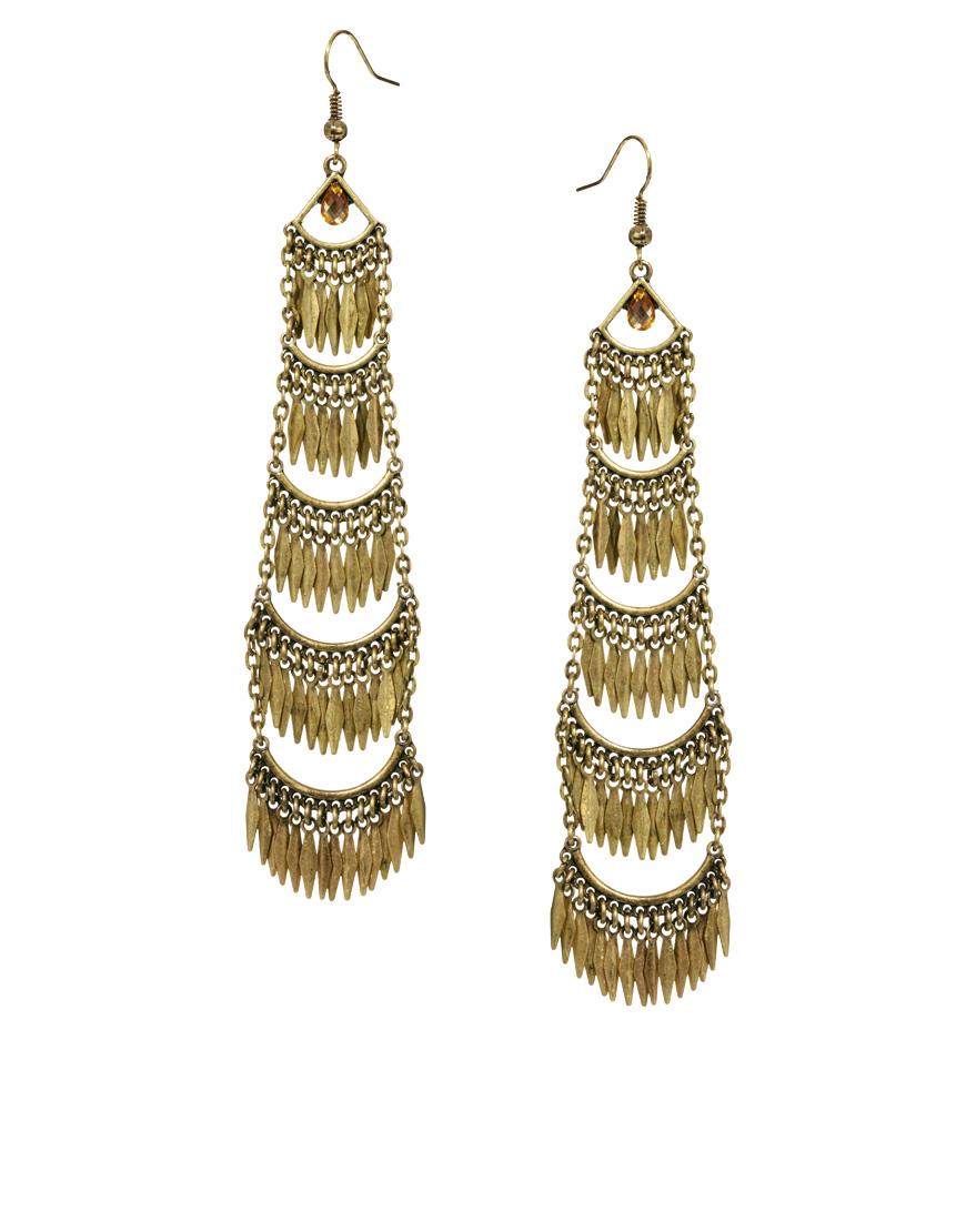 Lyst River Island Tiered Chandelier Earrings In Metallic