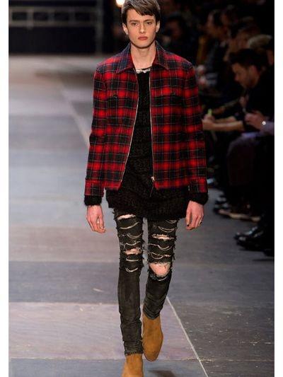 saint laurent 155cm distressed stretch denim jeans in black for men lyst. Black Bedroom Furniture Sets. Home Design Ideas