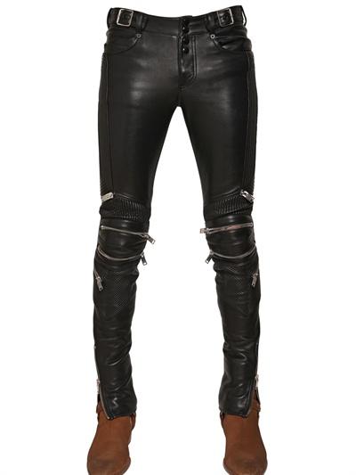 Lyst Saint Laurent 155cm Zipped Nappa Biker Trousers In