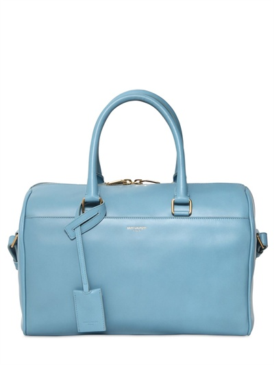 yvessaintlaurent bag - Saint laurent Duffle 6 Brushed Leather Top Handle Bag in Blue ...
