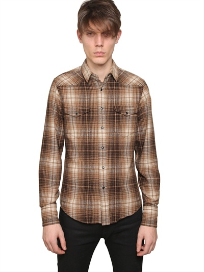 Saint laurent check wool flannel western shirt in brown for Saint laurent check shirt