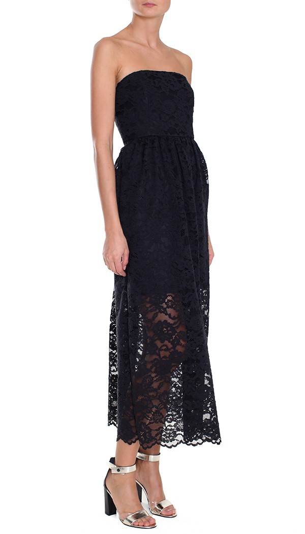 Tibi Lace Strapless Dress in Black - Lyst
