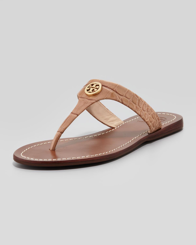 69ca67c10120c0 Lyst - Tory Burch Cameron Crocembossed Thong Sandal in Brown