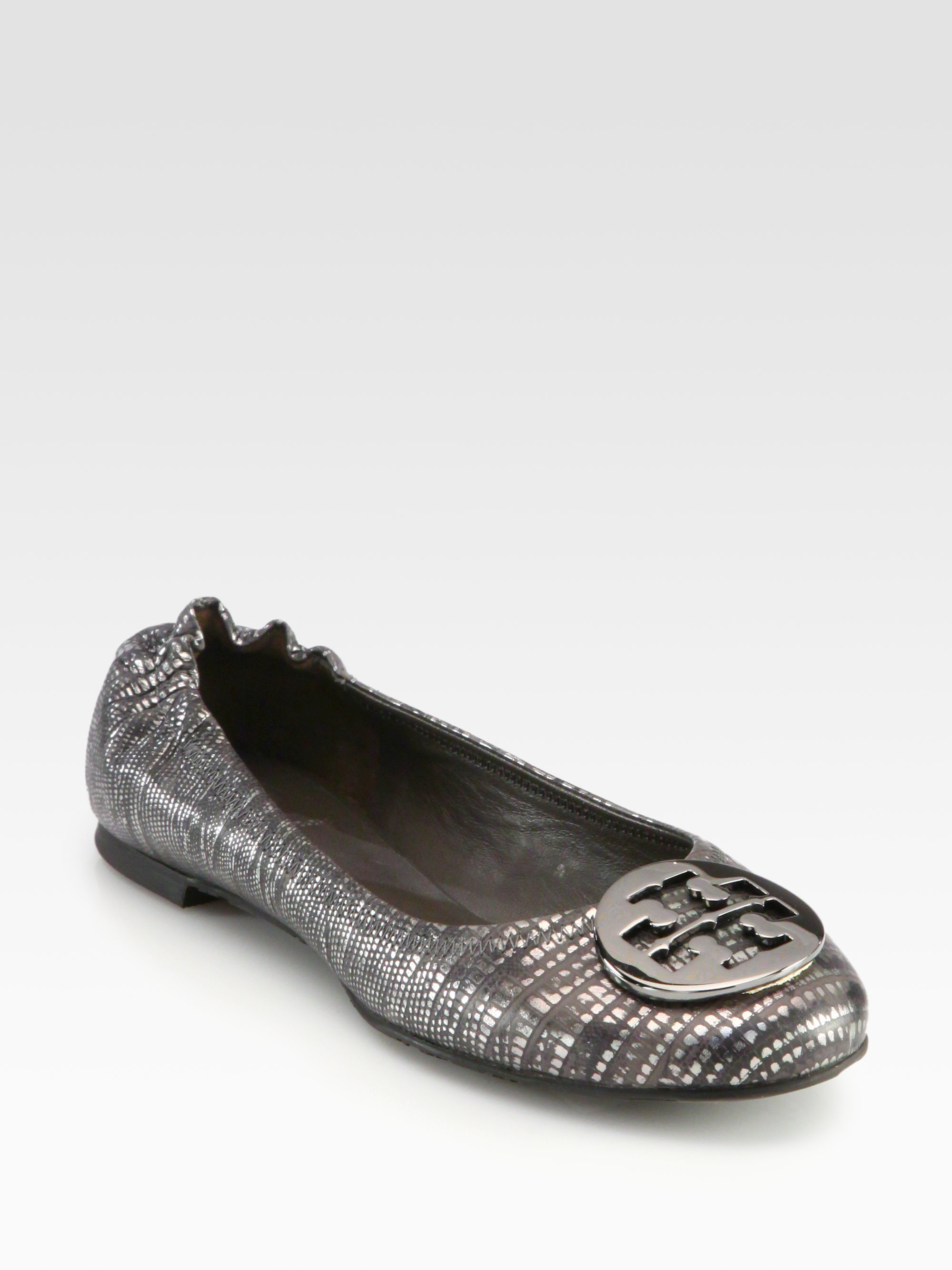 6a586a728 ... wholesale lyst tory burch reva snakeprint metallic leather ballet flats  in a5d1c 746c1