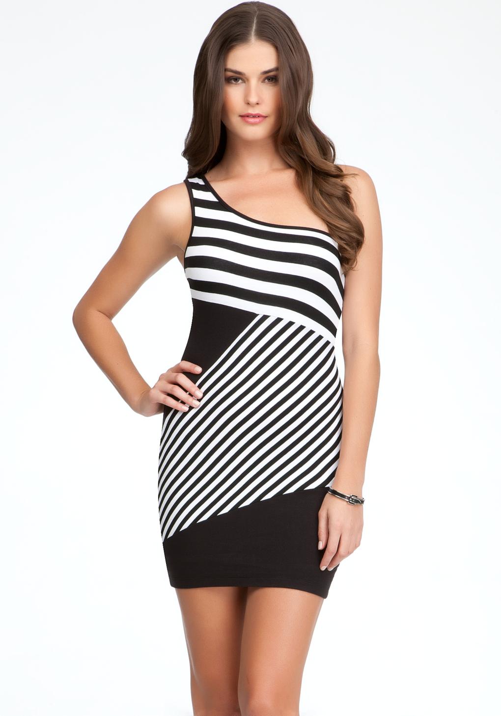 Bebe Stripe One Shoulder Dress In Black White Lyst
