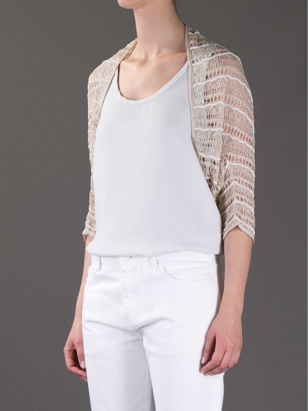 Blumarine Lace Cropped Cardigan in Metallic | Lyst
