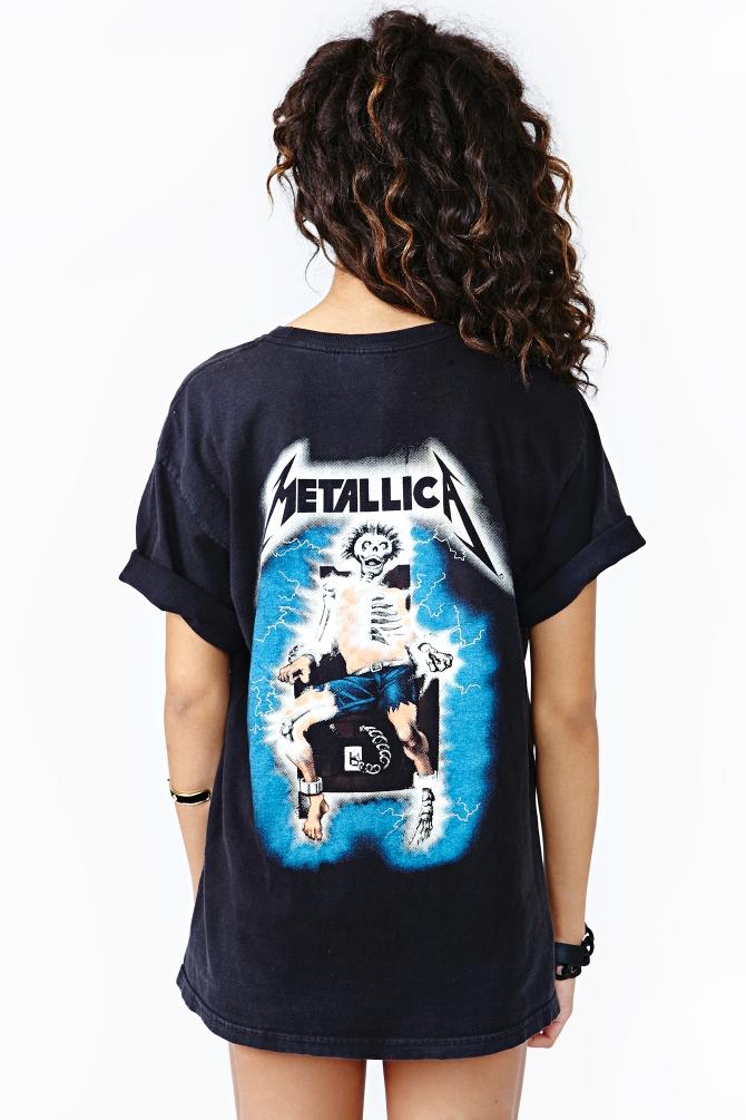 "Noir METALLICA /""ride the lightning Tracks/' Pour Femme Ajusté T-Shirt-New!"