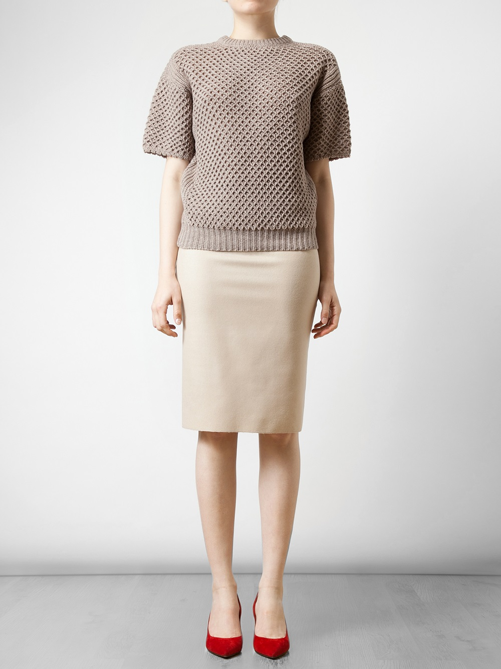 Nina ricci Virgin Wool and Stretch Knit Pencil Skirt in Natural | Lyst