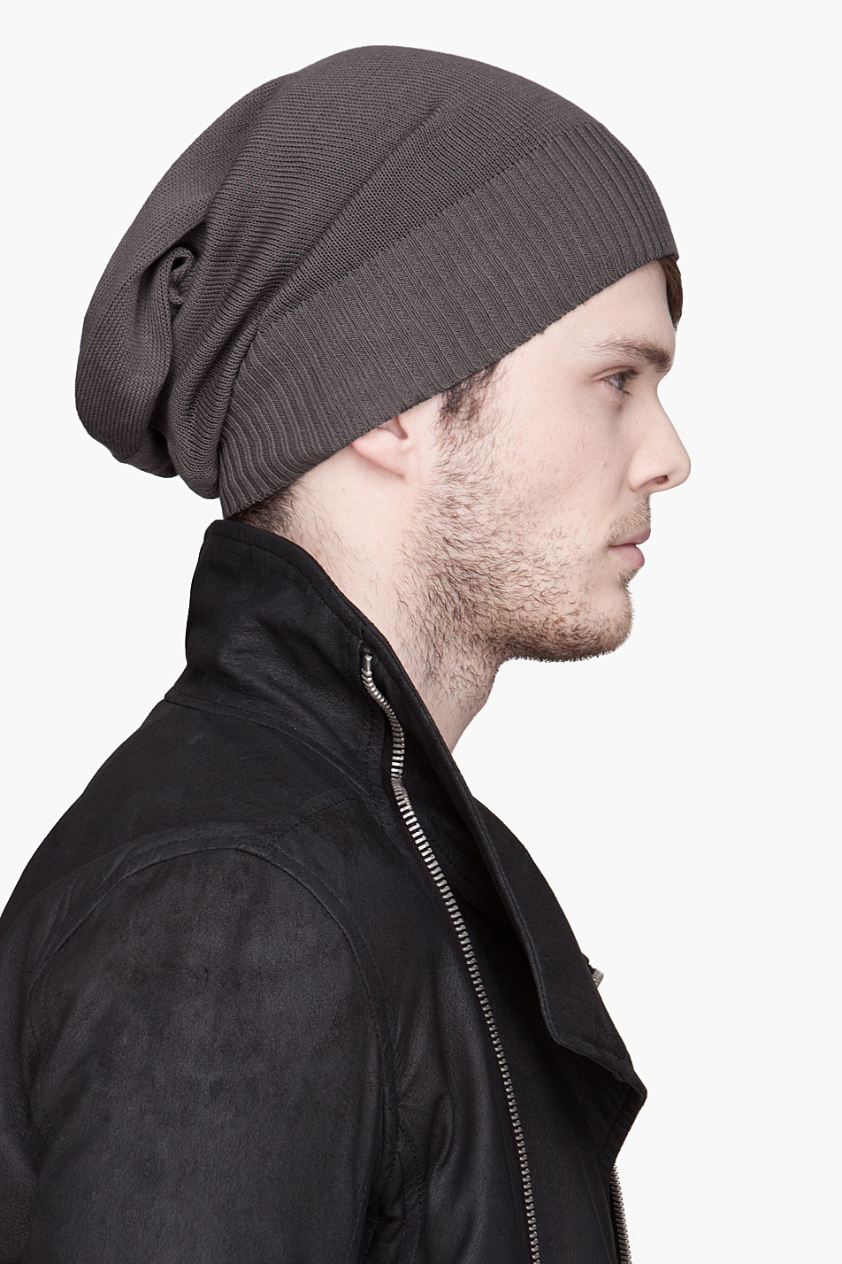 42479134def36f Rick Owens Grey Basic Knit Cotton Beanie in Gray for Men - Lyst