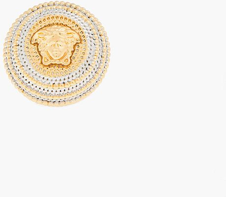 Versace Gold and Silver Raised Circle Emblem Ring in Gold