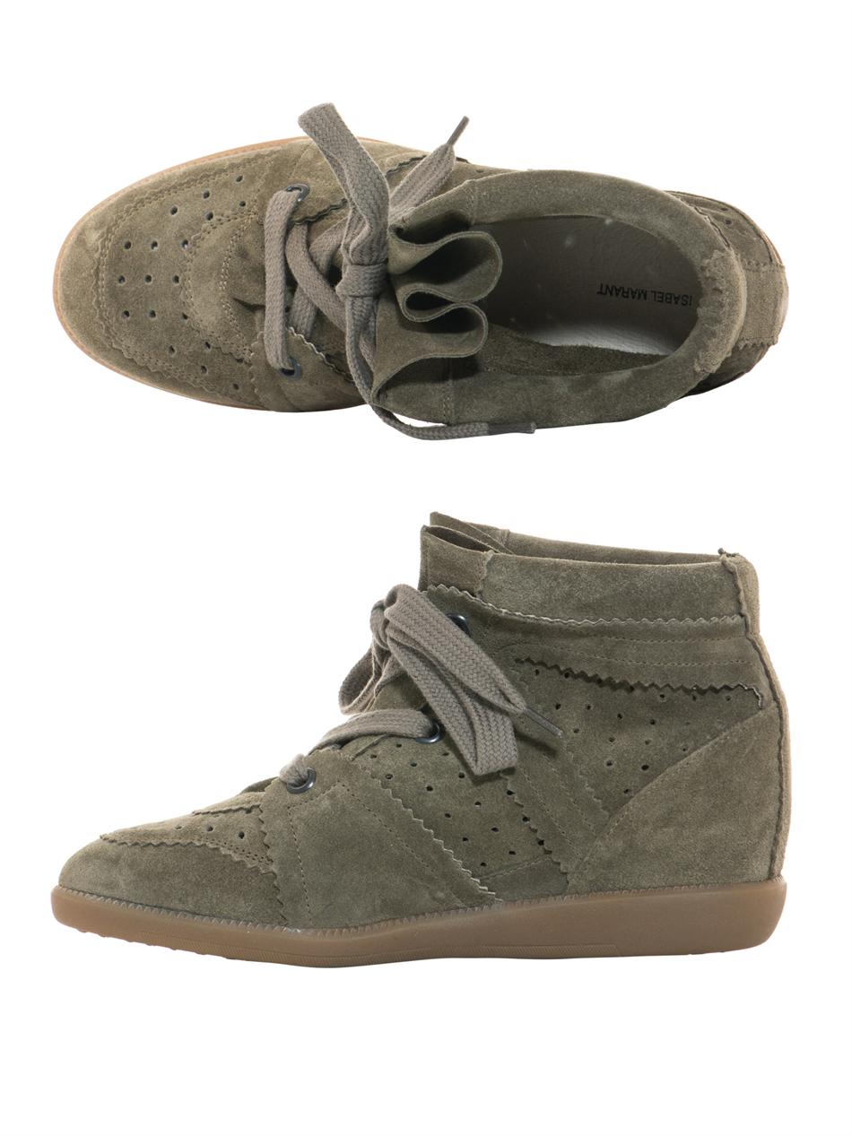 isabel marant bobby suede hidden wedge trainers in natural lyst. Black Bedroom Furniture Sets. Home Design Ideas