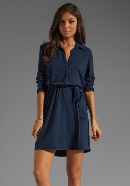michael stars long sleeve shirt dress in navy in blue