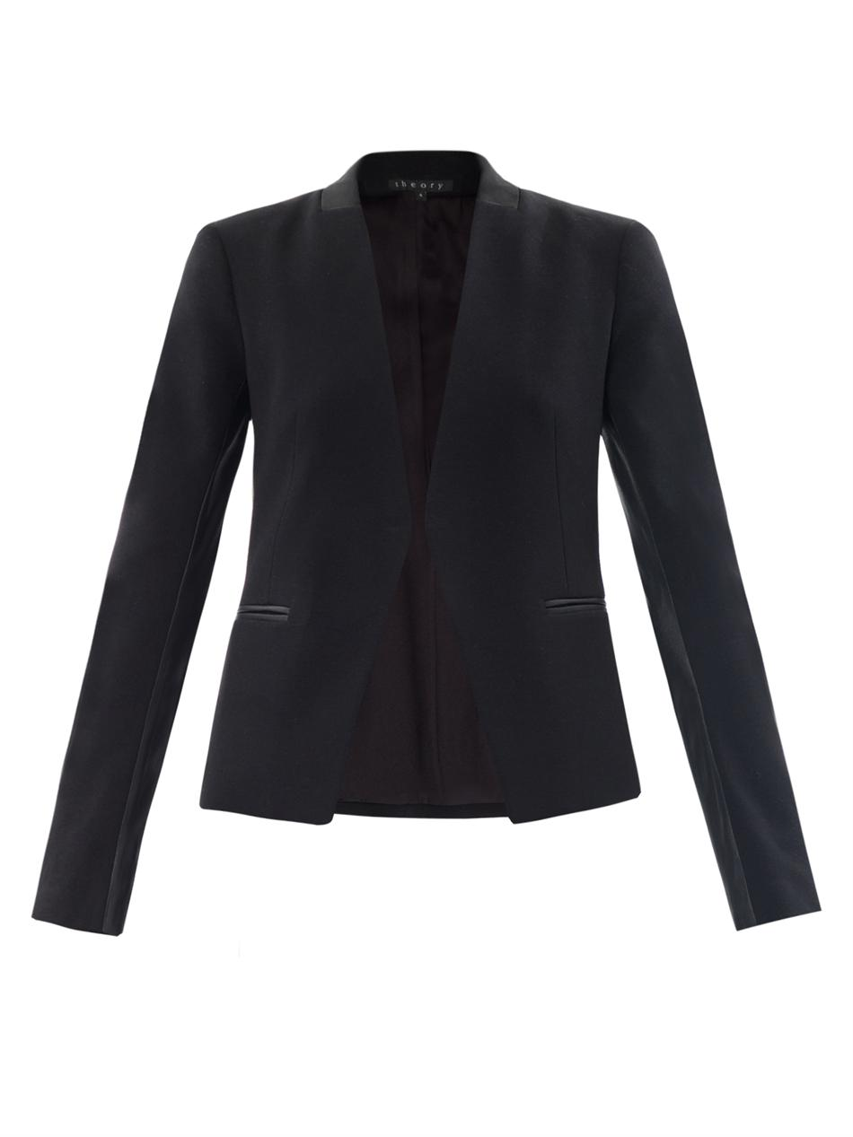 27918f3dcbf Theory Lanai Leather Trimmed Blazer in Black - Lyst