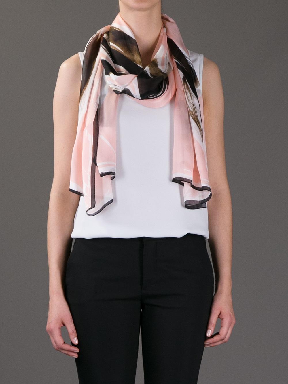 fendi printed silk scarf in pink lyst