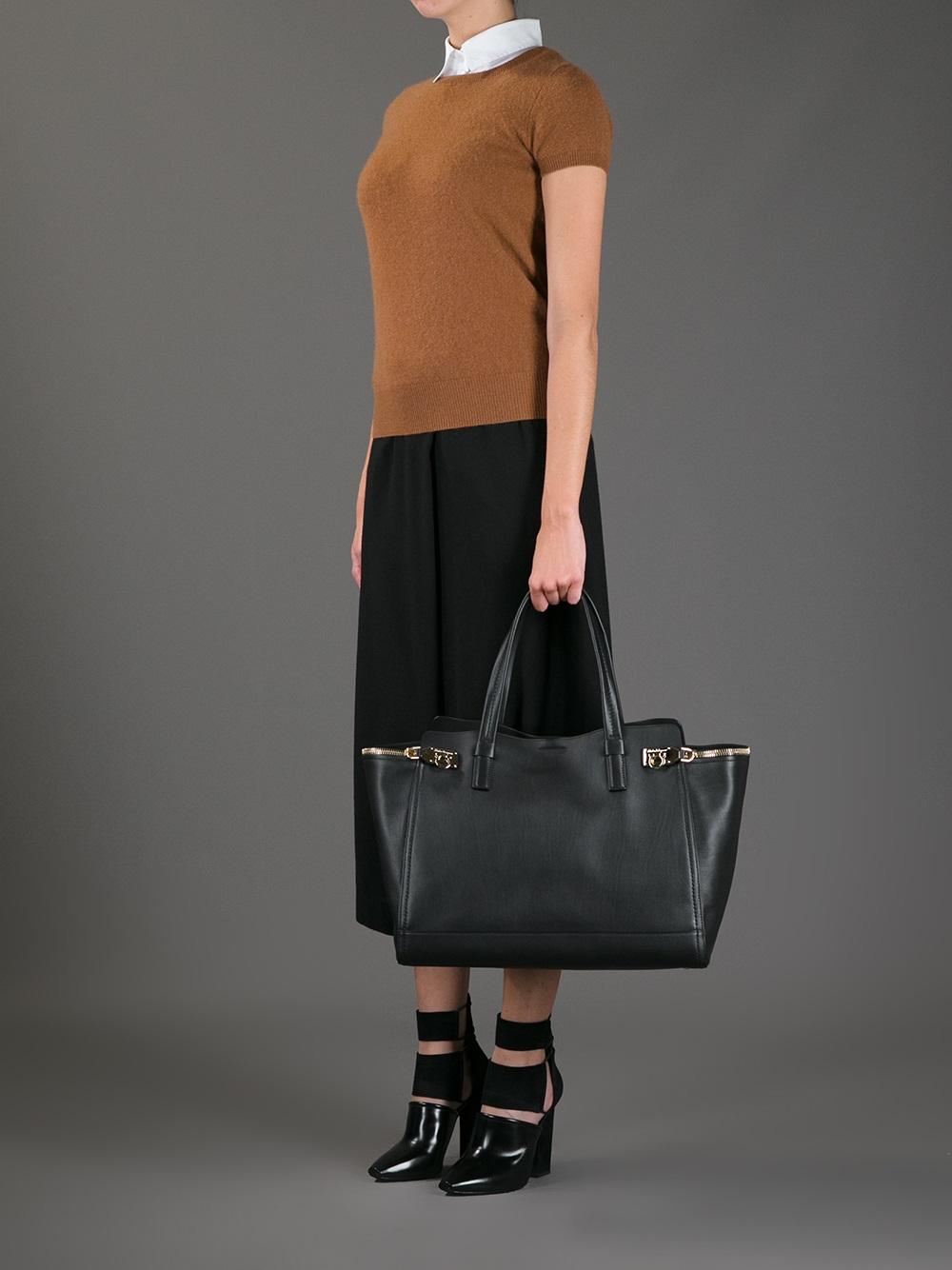 Ferragamo Verve Shopper Tote in Black