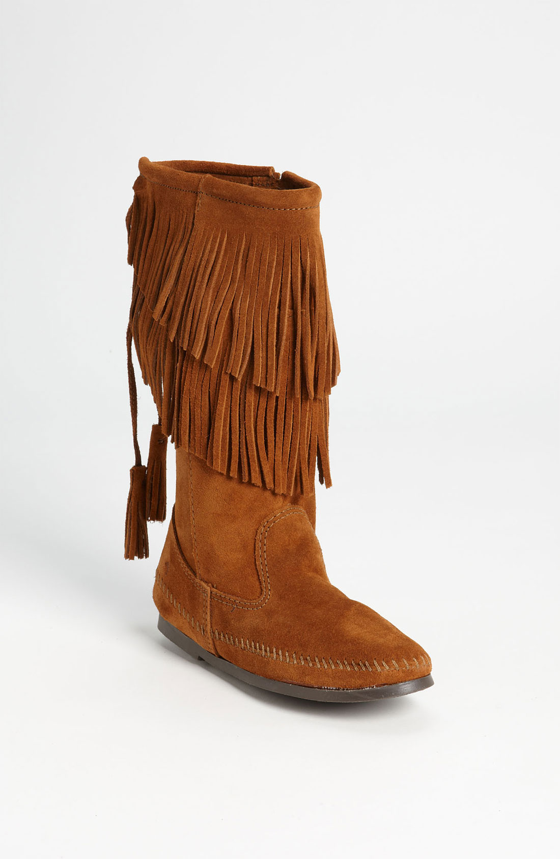 minnetonka two layer fringed boot in brown lyst