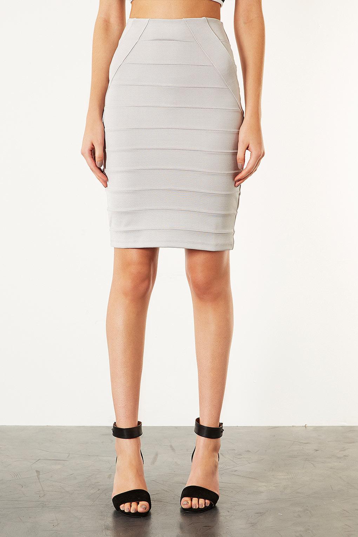 TOPSHOP Silver Bandage Pencil Skirt in Metallic