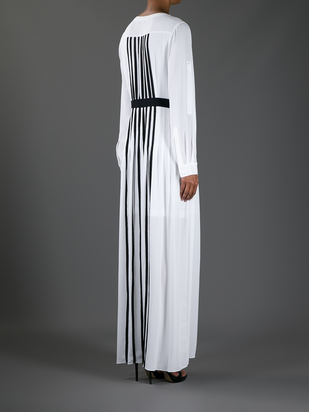Lyst Bcbgmaxazria Striped Long Dress In White
