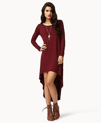 dfc79c1024a6 Lyst - Forever 21 Long Sleeve Highlow Dress in Purple