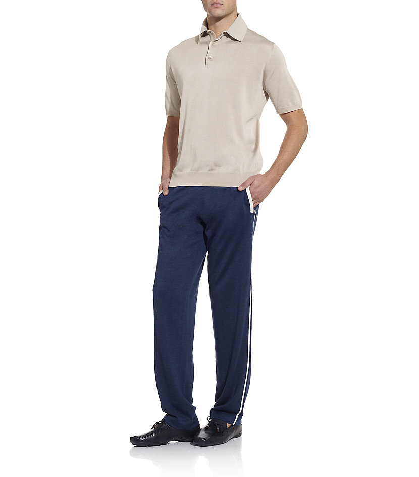 Stefano Ricci Silk Lounge Pants in Silver (Blue) for Men