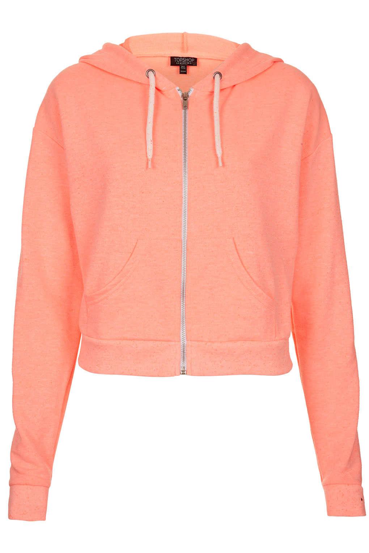 Topshop Crop Zip Hoody In Orange Coral Lyst