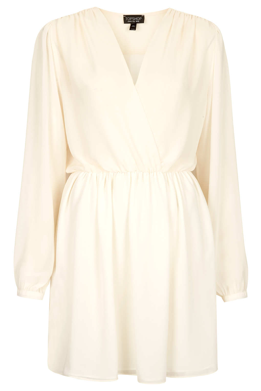 Topshop Chiffon Wrap Dress in Natural | Lyst