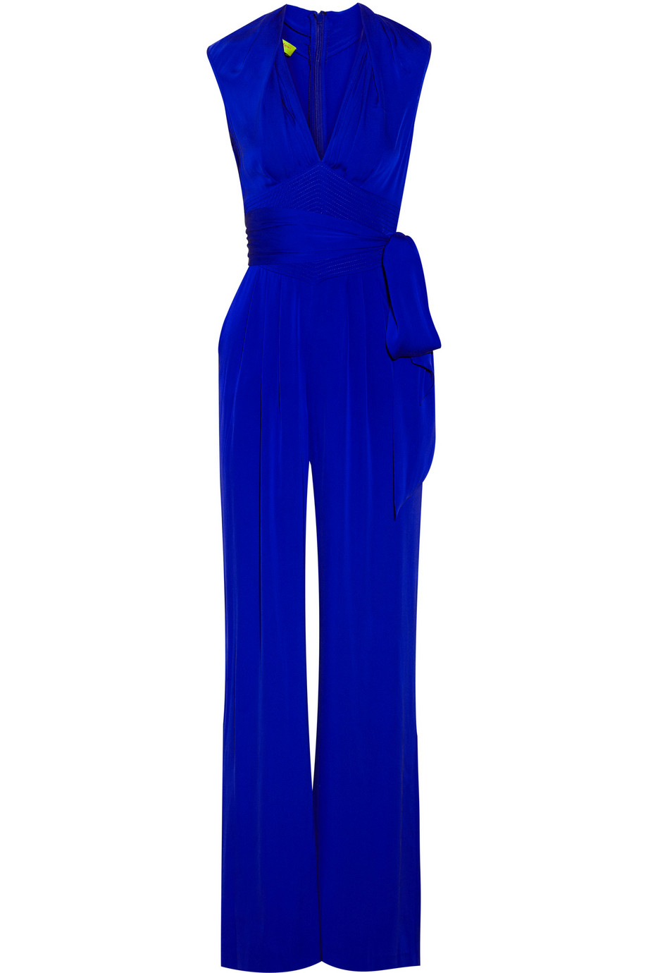 Catherine malandrino Belted Stretchsilk Jumpsuit in Blue | Lyst