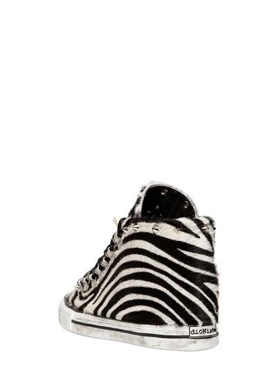 Black Dioniso 20mm Zebra Printed Ponyskin Sneakers in Black & White (Black)