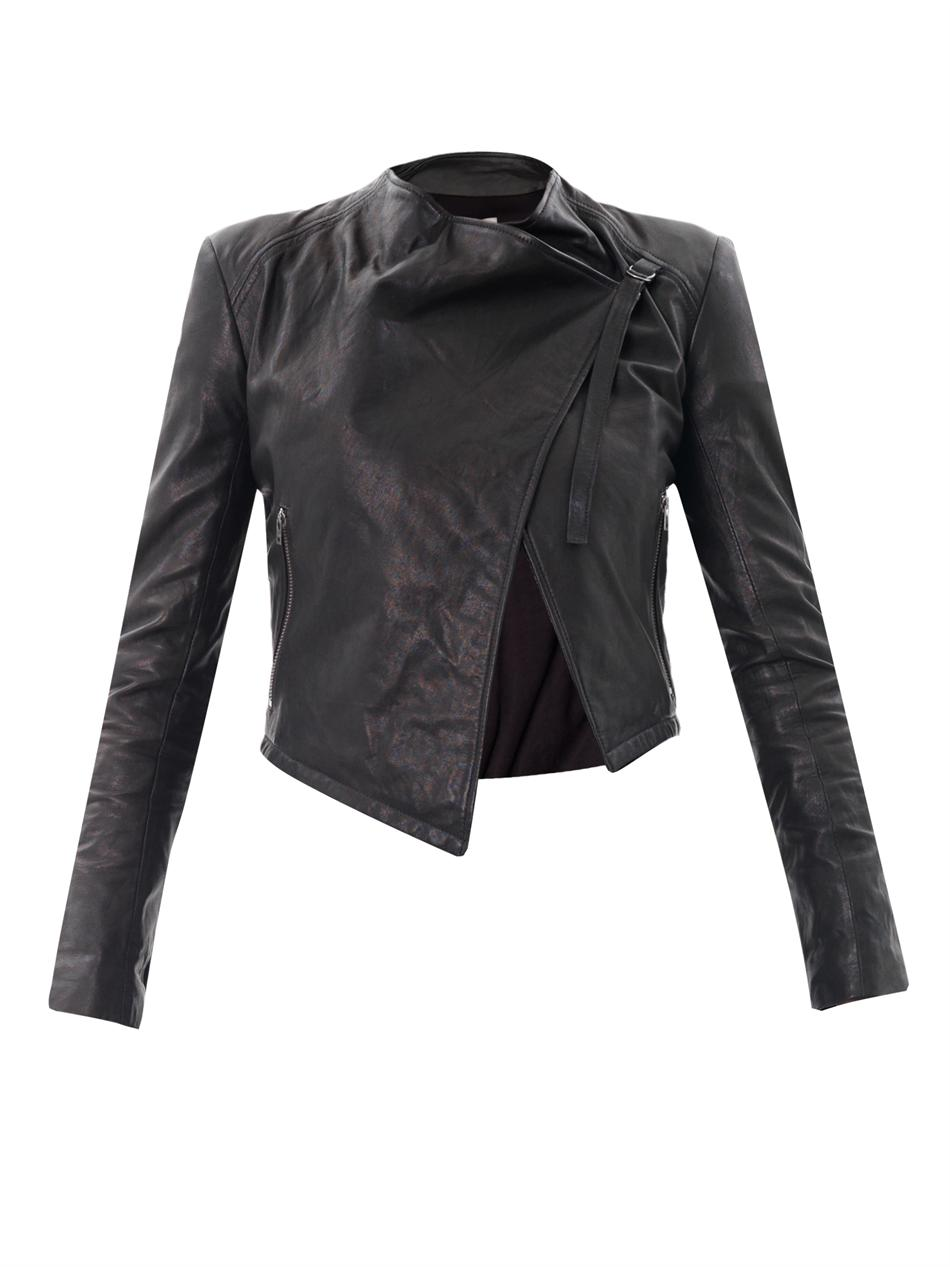 Helmut Waterfall Front Leather Jacket in Black | Lyst