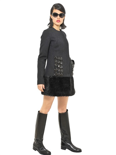 Marni Embroidered Wool And Beaver Fur Coat In Grey Black