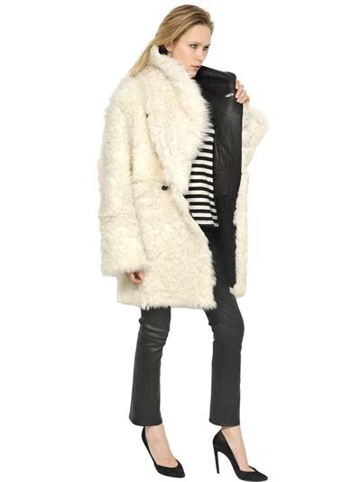 Proenza schouler Reversible Shearling Coat in White | Lyst