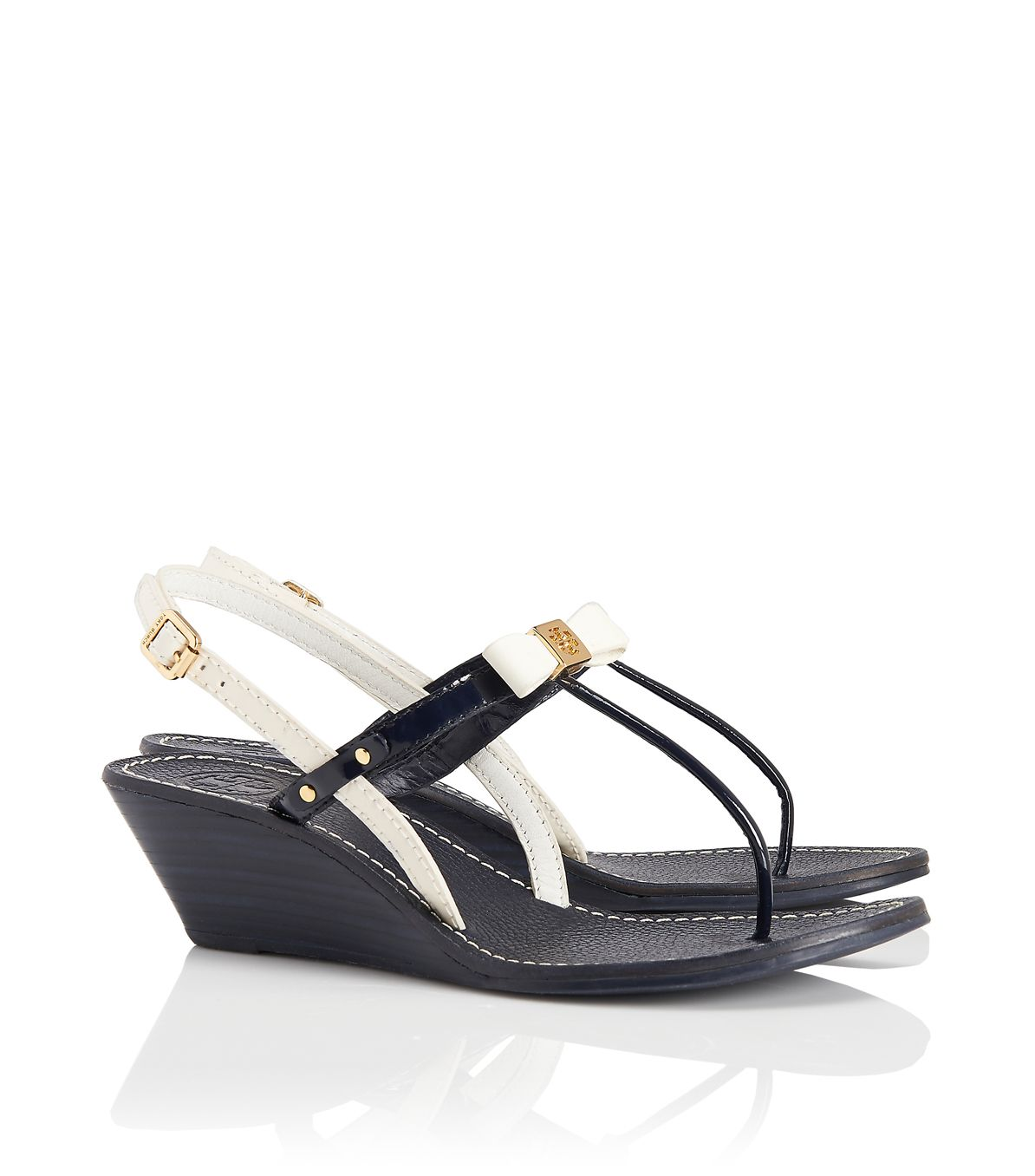 Tory Burch Kailey Two Tone Bow Sandal in Black - Lyst