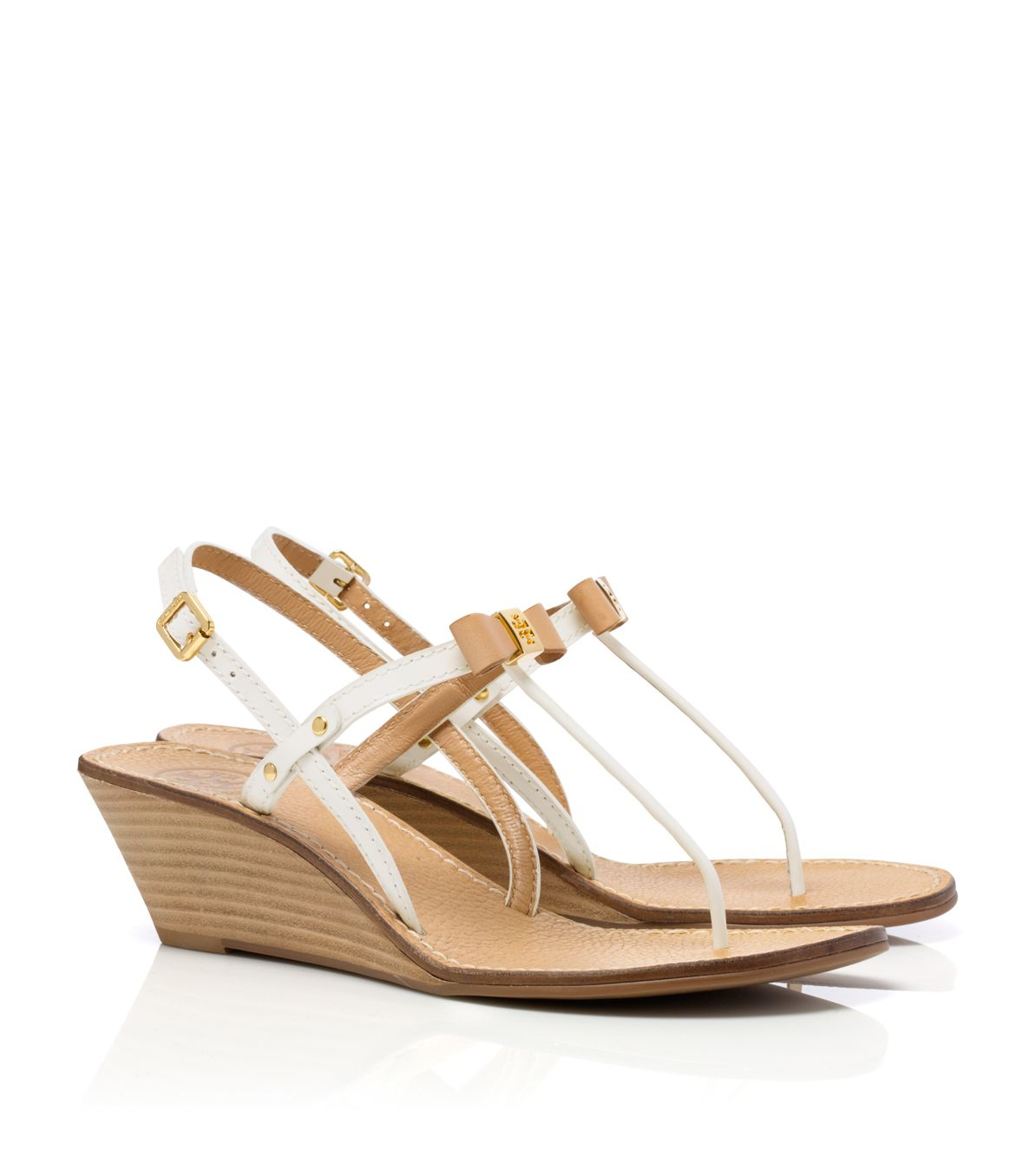 Tory Burch Kailey Wedge Thong Sandal in Bleach/Bright Navy