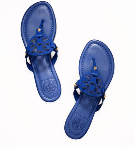 Tory Burch Patent Leather Miller Sandal In Blue Indian