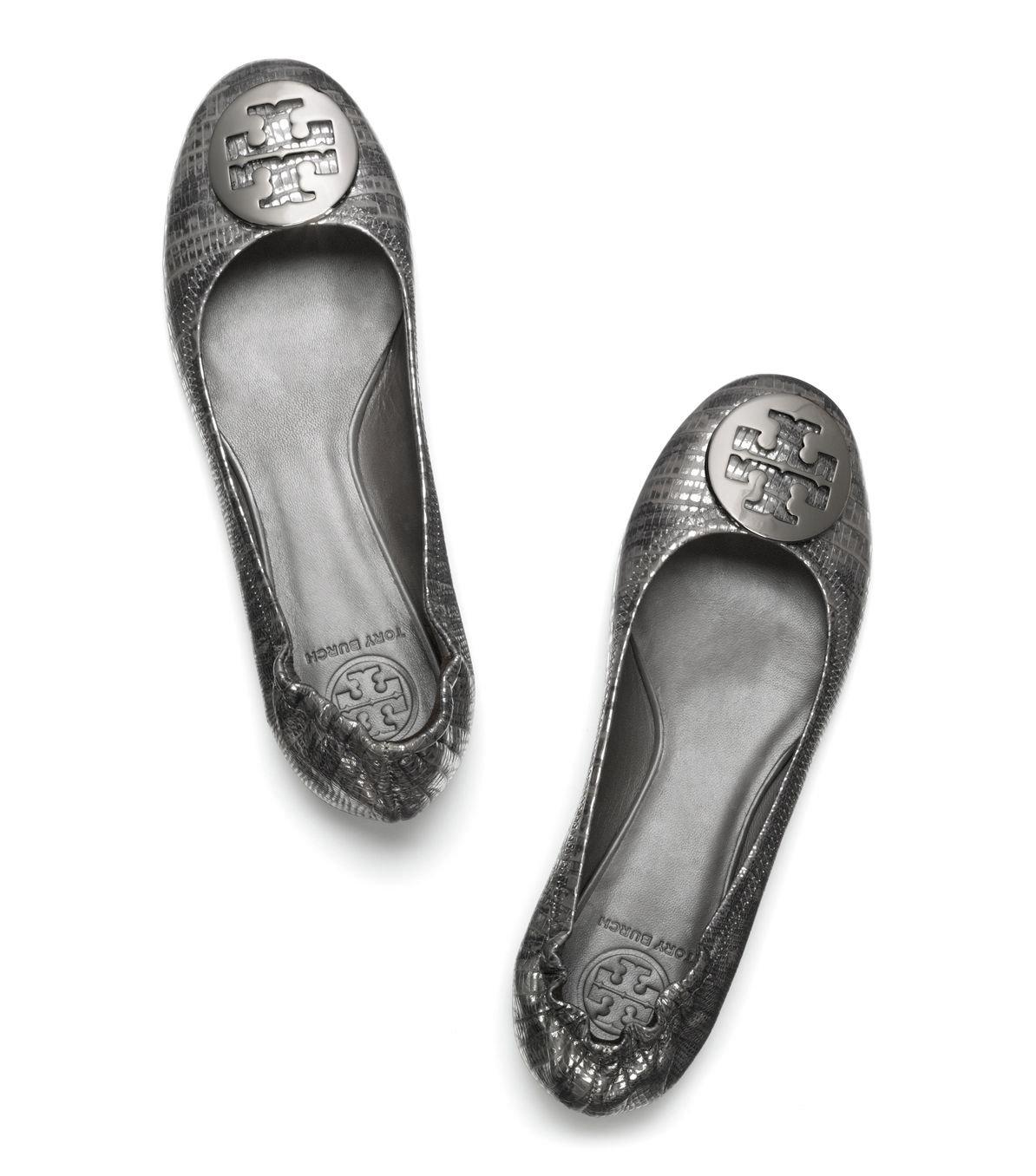 35db488a4 Lyst - Tory Burch Lizard Printed Reva Ballet Flat in Gray