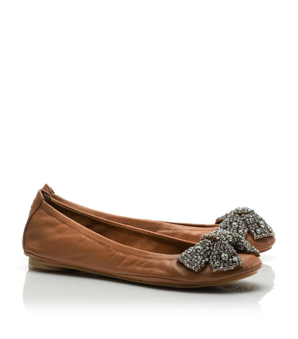 37b0d0265e2 Lyst - Tory Burch Leather Eddie Bow Ballet Flat in Brown