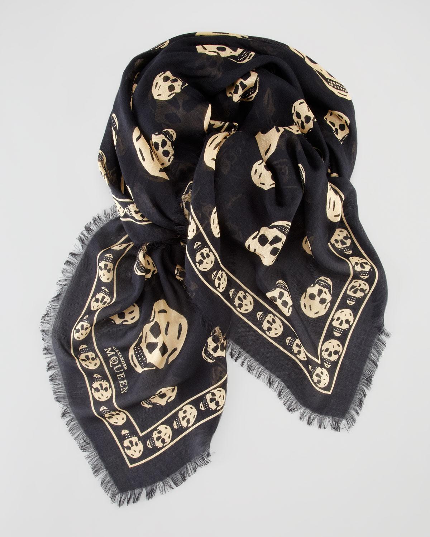 mcqueen skull print scarf in black for lyst