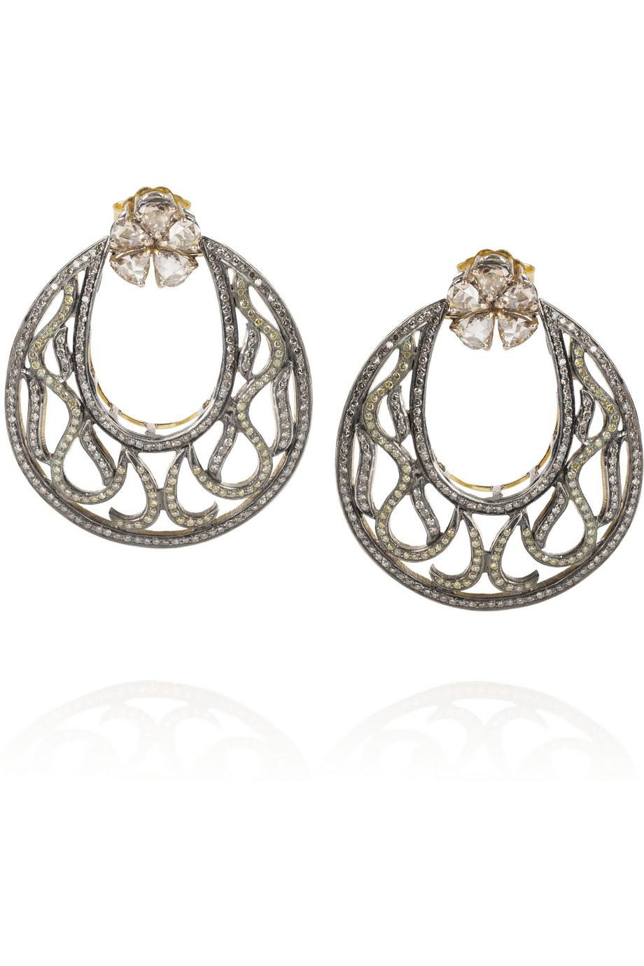 Artisan Earrings : Artisan sterling silver diamond earrings in gold lyst