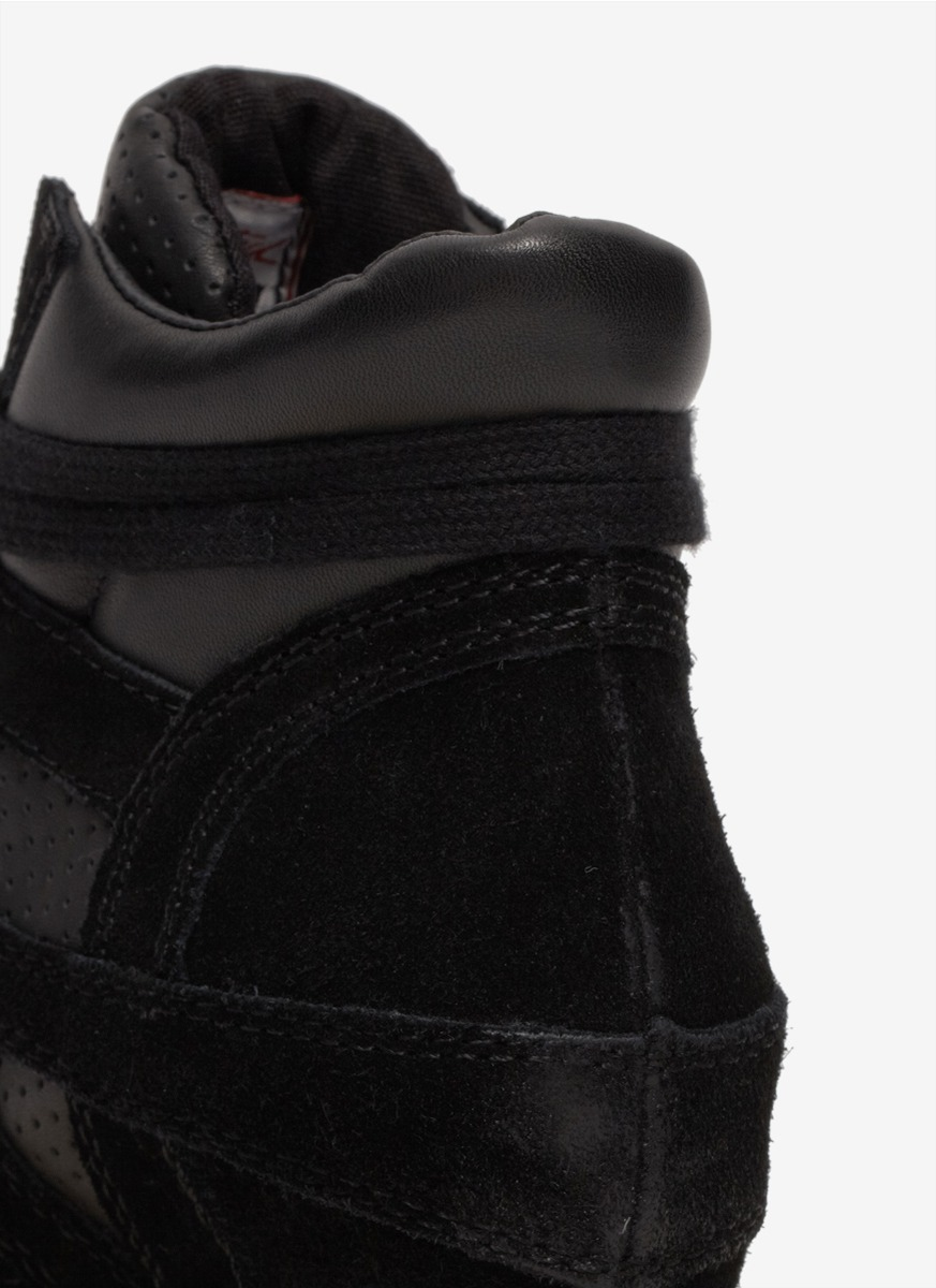Ash Bea Perforated Leather Wedge Sneakers In Black Lyst