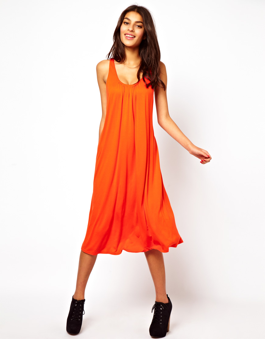 Asos Midi Sundress with Ruched Back in Orange   Lyst