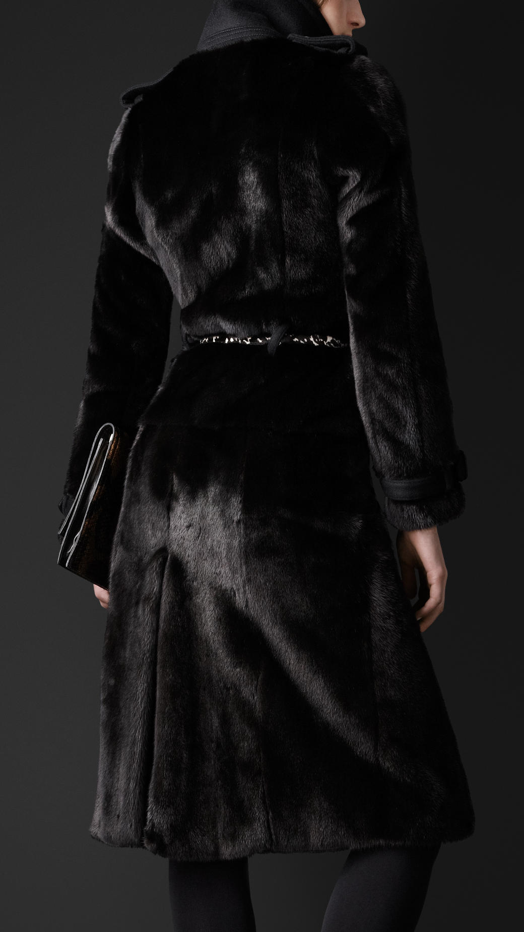 Burberry Mink Trench Coat in Black | Lyst