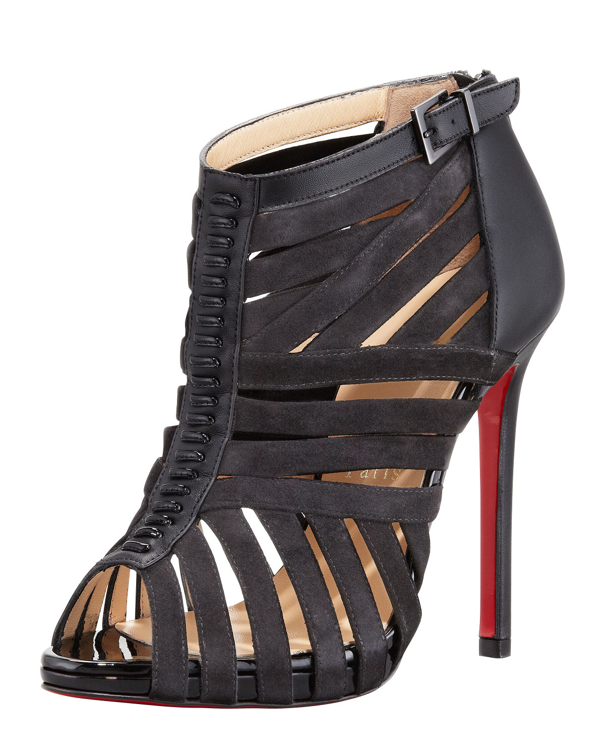 christian louboutin black suede sandals